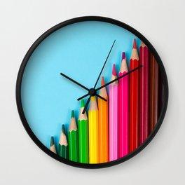 Rainbow Colored Pencils Wall Clock