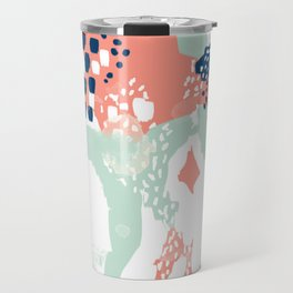 Kayl - abstract painting minimal coral mint navy color palette boho hipster decor nursery Travel Mug