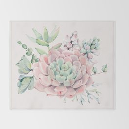Perfect Pink Succulent Throw Blanket