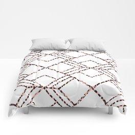 Pink black white geometrical abstract cheetah animal print Comforters