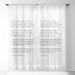 For what it's worth -  F Scott Fitzgerald Sheer Curtain