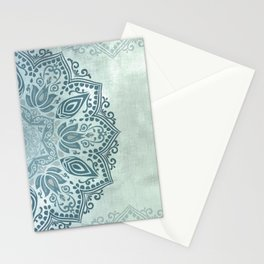 Mandala Teal Blue Green Turquoise - right side Stationery Cards