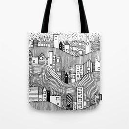 Hill Village - b&w Tote Bag