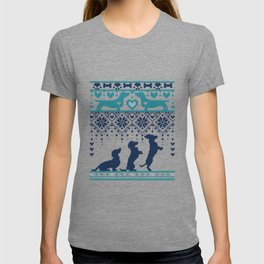 Fair Isle Knitting Doxie Love // navy blue background white and teal dachshunds dogs bones paws and hearts T-shirt