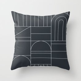 Deco Geometric 04 Black Throw Pillow