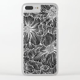 Flowers all over black Clear iPhone Case
