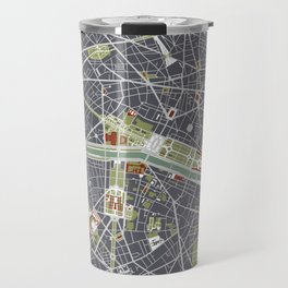 Paris city map engraving Travel Mug