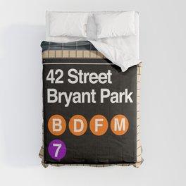 subway bryant park sign Comforters