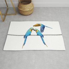 macaw Bird sitting on rope & flying Rug
