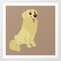 golden retriever Art Prints featuring Golden Retriever by Sarah