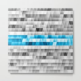 Blue Stripe Geometric Pattern Metal Print