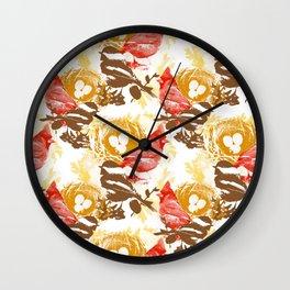 Cardinal Chickadee Pattern Wall Clock