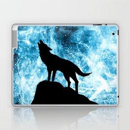Howling Winter Wolf snowy blue smoke Laptop & iPad Skin