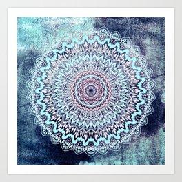 BLUE AUTUMN BOHO MANDALA Art Print