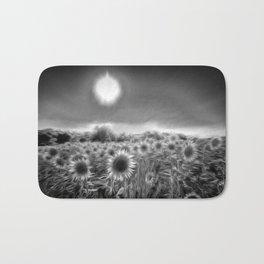 Monochrome Moonlight Sunflowers Bath Mat