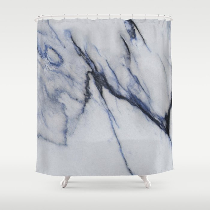 White Marble with Black and Blue Veins Shower Curtain by ...