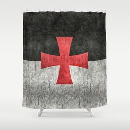 Knights Templar Flag in Super Grunge Shower Curtain