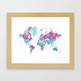 "Purple and turquoise watercolor world map with cities, ""Blair"" Framed Art Print"
