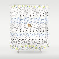 robin Shower Curtains featuring Robin by Ornaart