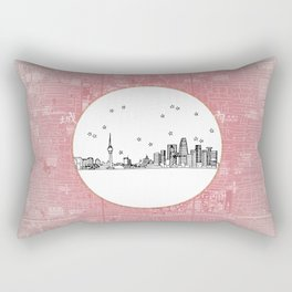 Beijing, China City Skyline Illustration Drawing Rectangular Pillow