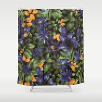 stitch Shower Curtains featuring Cross Stitch by Mr and Mrs Quirynen