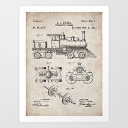 Train Locomotive Patent - Steam Train Art - Antique Art Print