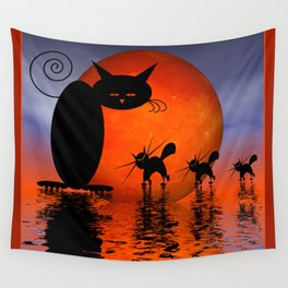 let's go and look for mice - mooncats Wall Tapestry