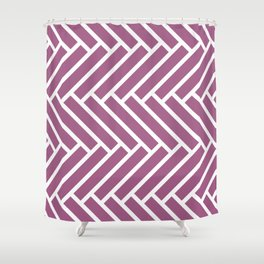 Mauve and white herringbone pattern Shower Curtain