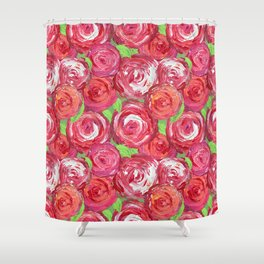 Big Fat Pink Cabbage Roses Shower Curtain