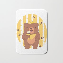 Bear Cub Eating Ice Cream in Forest Bath Mat
