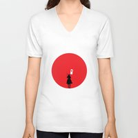 japan V-neck T-shirts featuring Japan by bluedox