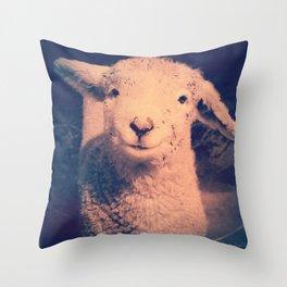 Innocence (Smiling White Baby Sheep) Throw Pillow
