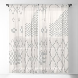 Moroccan Patchwork in Cream and Grey Sheer Curtain