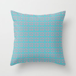 Bright Teal and Pink Coral Damask small pattern Throw Pillow