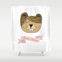 beaver Shower Curtains featuring Justin Beaver by Katie Gaughan
