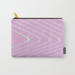 Pastel Color Curved Lines On Pink Background Carry-All Pouch