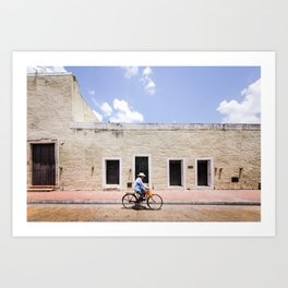 Riding a Bike in Merida, Mexico Art Print
