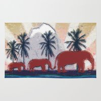 elephants Area & Throw Rugs featuring Elephants by LoRo  Art & Pictures