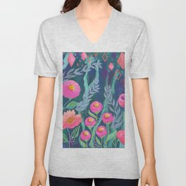 Boho Artwork, Floral Painting, Pink and Coral Flowers, Blue Turquoise Painting, Unisex V-Neck