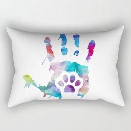 watercolor Hand/Paw Rectangular Pillow