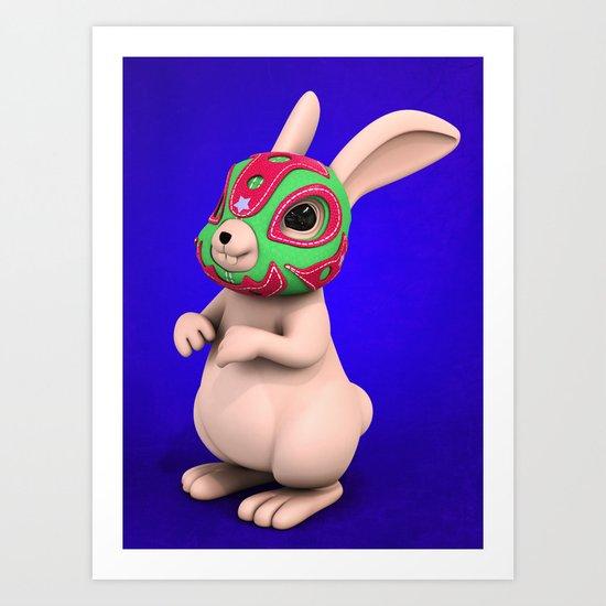Lucha Rabbit -Grey Brother  Art Print