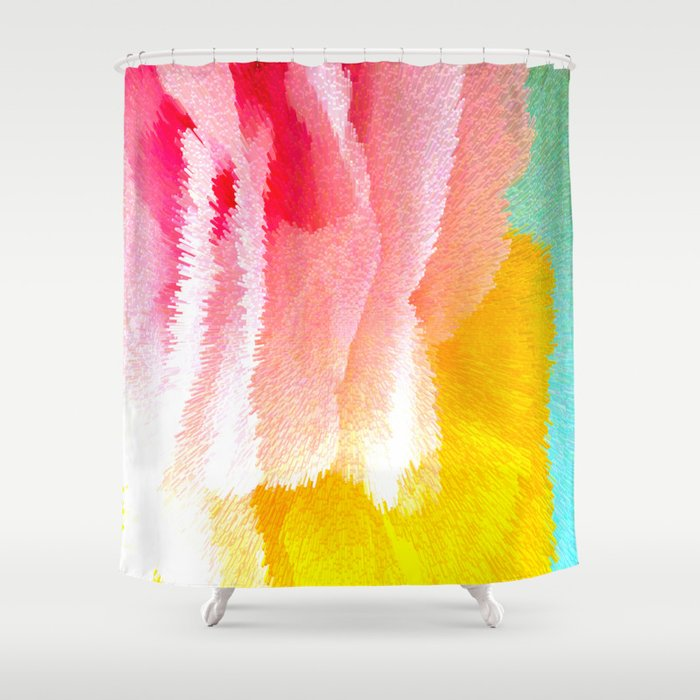 pink and yellow shower curtain by artworksbylarajohnson society6. Black Bedroom Furniture Sets. Home Design Ideas