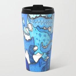 Blue Dinosaur Gradient Travel Mug
