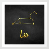 Leo Zodiac Constellation in Gold Art Print
