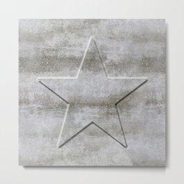 Solid Star in grey conrete Metal Print