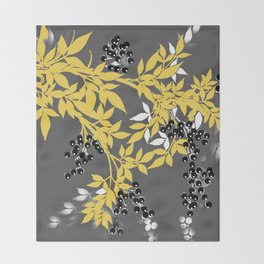 TREE BRANCHES YELLOW GRAY  AND BLACK LEAVES AND BERRIES Throw Blanket