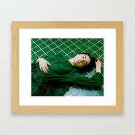 tara in green bathroom Framed Art Print