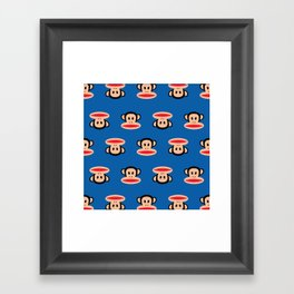 Julius Monkey Pattern by Paul Frank - Dark Blue Framed Art Print