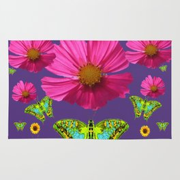 FUCHSIA COSMO FLORALS GREEN MOTHS SUNFLOWERS Rug