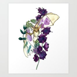 Birthday Floral Bat Art Print
